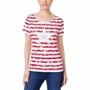 Karen Scott Americana T-shirt  NWT